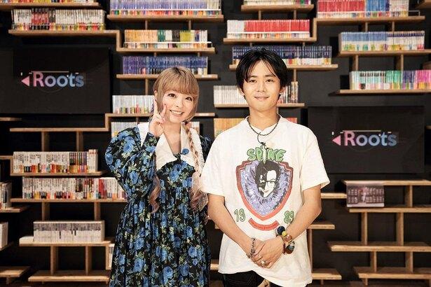 本棚劇場で収録を行ったきゃりーぱみゅぱみゅさん(左)とOKAMOTO'S・オカモトレイジさん(右)